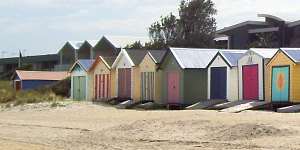 Colourful boatsheds on Edithvale beach