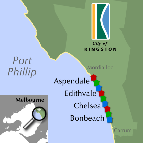 Map of boatshed locations within Kingston